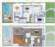 Plano de casa con zona de juegos. Plano para terreno 10x25