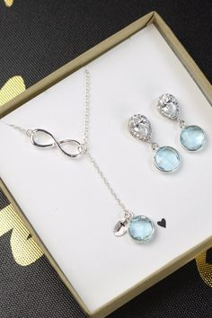 Aquamarine blue Gem Necklace and earrings set .Custom color available  See more here: https://www.etsy.com/ca/listing/129901470/aqua-blue-bridesmaid-jewelry?utm_source=Pinterest&utm_medium=PageTools&utm_campaign=Share