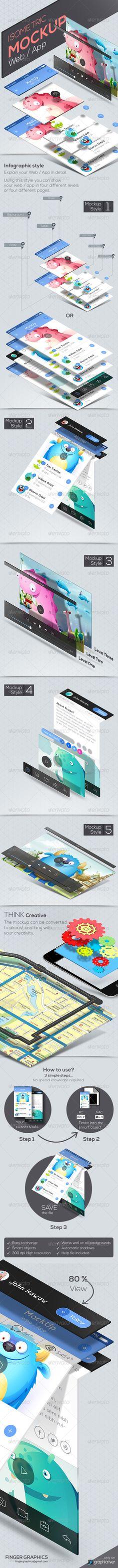 Isometric Web / App Mockup - Product Mock-Ups Graphics