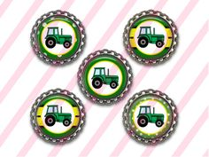 Green Tractor Bottle Caps Set of 5 Flattened by BottleCapzGalore