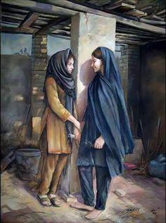 Beautiful portrait of village life girls in beautiful Pakistan Woman Painting, Oil Painting On Canvas, Art Village, Indian Art Paintings, Realistic Paintings, Beauty Art, Beautiful Paintings, Islamic Art, Female Art