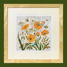 Fleur de Calendule Print - Limited edition print of batik, flowers print, flowers and butterflies print, wild flower print, wild flower art