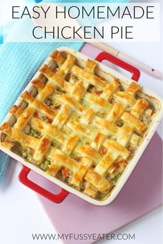 My recipe for this easy homemade chicken pie is super easy to make and is the perfect mid-week family meal! It's both warming and comforting but on the table in under an hour! Chicken Pie Recipe Easy, Homemade Chicken Pie, Chicken Recipes For Kids, Easy Pie Recipes, My Recipes, Family Recipes, Easy Toddler Meals, Easy Meals For Kids, Easy Family Meals
