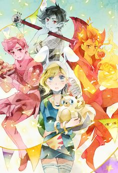 Prince Gumball, Marshall Lee, Flame Prince, and Fiona