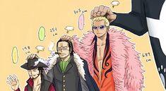 Height differences ;) Mihawk, Crocodile, Doflamingo, and Kuma