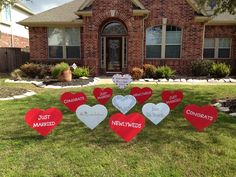 Newlywed decorations / yard display to welcome the couple home from their honeymoon. From www.flamingos2go.com Adorable!!!
