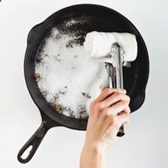 How to clean your cast iron pan from Bon Appetit. It still grosses me out a bit that youre not supposed to clean these babies with soap and water, but thats how theyre built to work! I make flan in mine and it turns out so much better than in any other pan Ive used.