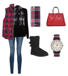 """""""Plaid outfit"""" by laurenflynn23 on Polyvore featuring Frame Denim, Oasis, Humble Chic, J.Crew, Isaac Mizrahi, Dasein, UGG Australia and Timex"""