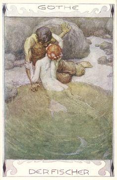 Mermaid illudtration to Goethe's 'Der Fischer' by Erich Schutz, ca. 1920