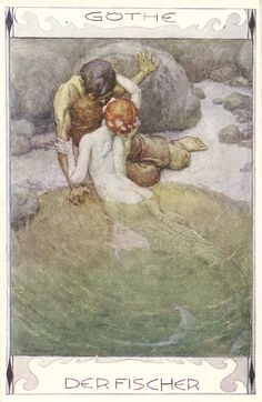 ♡Art-Nouveau-style mermaid illustration to Goethe's Der Fischer by Erich Schütz, ca. Art And Illustration, Illustrations, Mermaid Illustration, Real Mermaids, Mermaids And Mermen, Fantasy Kunst, Fantasy Art, Art Inspo, Mermaid Artwork