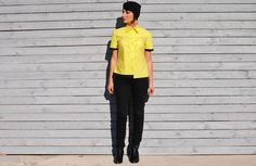 Vintage VERSACE Yellow and Black Shirt by UnaCamiciaDiSeta on Etsy