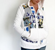 Do some patchwork with your favorite fabric on an old/ugly sweatshirt or hoodie.