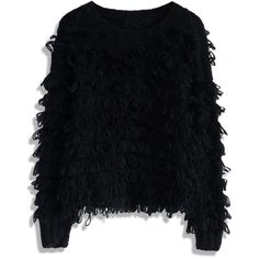 Chicwish Black Shaggy Sweater (€37) ❤ liked on Polyvore featuring tops, sweaters, jumpers, shirts, black, boat neck shirt, star sweater, black star shirt, long sleeve shirts and black jumper