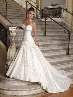 $316.49 Classic Satin Chapel Train #Sweetheart Beading #A-Line #Wedding #Dress