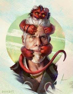 "quarkmaster: "" Hellboy Hi everyone!🙆 My new project, portraits of famous characters and their imaginary pets😼✨ Ron Perlman ""Hellboy""! 🔥 Follow me on: facebook :https://www.facebook.com/avv.alekseivinogradov instagram:..."