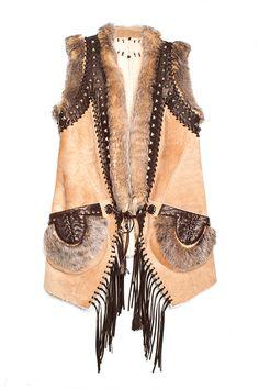 Shopping y looks inspirados en el estilo boho: Chaleco con combinación de pieles de Just Cavalli