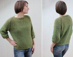 This simple stockinette stitch sweater features ribbed accents and a classic shape.  While it's only offered in size XXL, you can easily adapt the pattern to fit your own body.  Free knitting patterns like this Light Sweater are super fun to make for