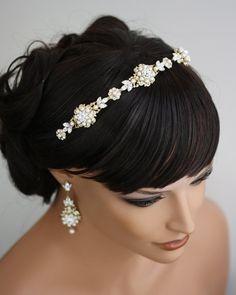 Gold Bridal Headband, Ivory Pearl Rhinestone tiara, Vintage Wedding Hair Accessories Gold Wedding Headpiece Luxurious Valetta