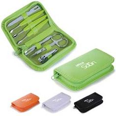 Practical manicure set in a colorful small case. Kit includes 7 pieces: Electroplated nail clippers, scissors, electroplated tweezers, 3 nail pushers and nail file. Starting at $4.19 each from Artina Promotional Products.
