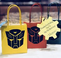 My sister kicked butt with her Cricut on my son's Transformers goody bags. Transformers Birthday Parties, 6th Birthday Parties, Third Birthday, Rescue Bots Birthday, Transformer Birthday, Goody Bags, Bee Theme, Party Bags, Diwali