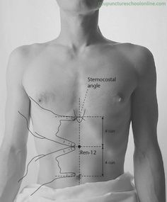 Ren-12-Middle-Cavity-ZHONGWAN-Acupuncture-Points- to strengthen spleen and cure cellulite