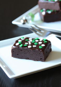 These fudgey brownies look sooo good. St. Patrick's Day? Pfff-I want them now!
