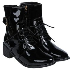 Buckle Patent Leather Combat Boots (€35) ❤ liked on Polyvore featuring shoes, boots and ankle booties