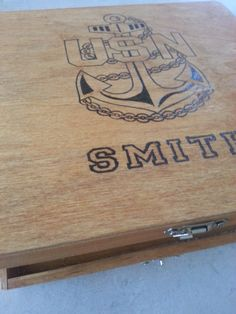 Personalized US Navy  USN  Anchor Keepsake Box by Five1Designs