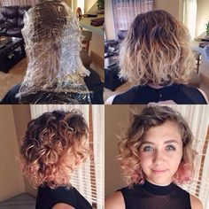 Rose and pink ombré hair. Short, curly, blonde, and beautiful