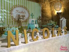 Pastel green baptism party decorations! See more party planning ideas at CatchMyParty.com!