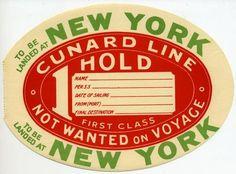 Cunard STEAMSHIP LINE - Huge Early Luggage Label, 1920 | eBay