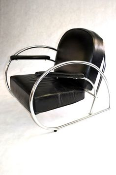 Art Deco chair in chrome & leather.