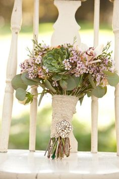 Rustic wedding bouquet from Shannon Reeves Events  ... Wedding ideas for brides, grooms, parents & planners ... https://itunes.apple.com/us/app/the-gold-wedding-planner/id498112599?ls=1=8 ...The Gold Wedding Planner iPhone App.