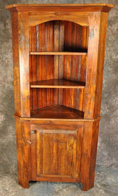 Rustic Reclaimed Wood Open Top Raised Panel Corner Cupboard x Wood Projects That Sell, Barn Wood Projects, Reclaimed Wood Projects, Reclaimed Wood Furniture, Reclaimed Barn Wood, Solid Wood Furniture, Log Furniture, Pallet Wood, Pallet Projects