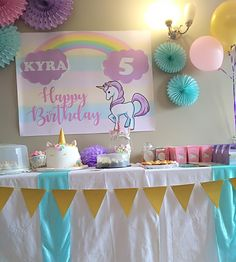 #kidsparties #kidsthemedparties #kidsbirthdayparties #kidspartydecor 5th Birthday, Birthday Party Themes, Birthday Cake, Kids Party Decorations, Unicorn, Photo And Video, Instagram, Birthday Cakes, A Unicorn