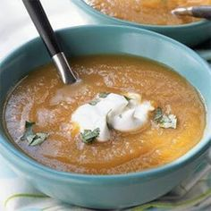 Curried Squash and Apple Soup - This make-ahead recipe keeps in the refrigerator for up to four days and up to two months in the freezer. For a main dish option, add cooked, diced chicken or turkey breast to the pot in the last 20 minutes of cooking. Serve garnished with a dollop of sour cream and chopped cilantro..  Print this recipe at AmericanFamily.com.