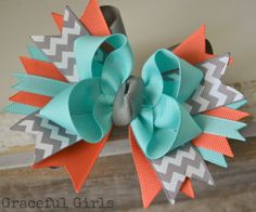 Grey Aqua & Coral Sassy Bow by GracefulGirls on Etsy, $6.75