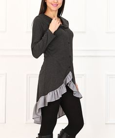 Look at this Charcoal Ruffle Hi-Low Cardigan on #zulily today!
