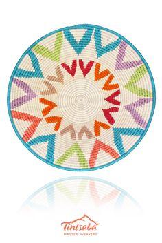 Handmade in Swaziland by Tintsaba using sisal. 31cm www.Tintsaba.com Willow Weaving, Art Corner, Tapestry Crochet, Dot Painting, Sisal, Rainbow Colors, Color Inspiration, Outdoor Blanket, Basket