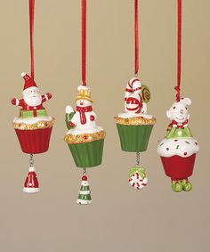 Take a look at this Holiday Cupcake Snowman Ornament Set by Transpac Imports on #zulily today!