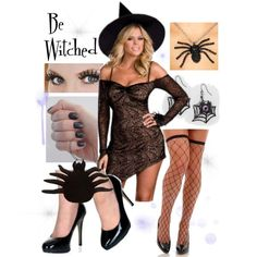 "Bring a creepy crawly touch to an old favorite with our sexy spider web witch costume!  Dress and hat, necklace, purse, tights, and shoes available from our store! ""Sexy Cute Spider Web Witch Costume"" by costumelicious on Polyvore    #Witch #WitchCostume #Halloween"