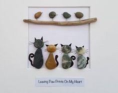 Pebble art picture Custom Order cat/s bird watching or dog/s and Owner/s