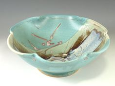 Handmade serving bowl in turquoise blue wheel by Hodakapottery