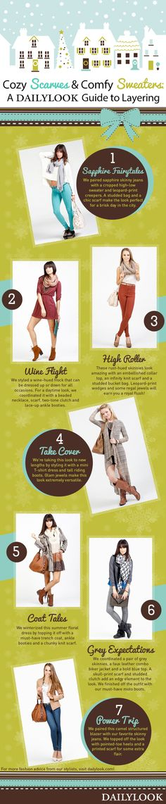 Cozy Scarves and Comfy Sweaters: A DailyLook Guide to Layering. Click the image link to shop these looks! @dailylook #dailylook #dailylooksugarandspice #fashion #style #clothes #accessories #layering #winterfashion