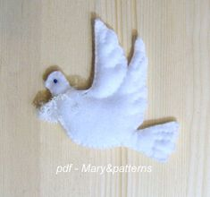 "English pattern  Nice spring doves, quick and easy to make - suitable to announce the spring, Easter, for Weddings decor, first Communion, Valentines day. Nice gift for a frend. The patterns consist of 5 pages with pictures and drawings.  Single Dove measure 4,33"" x 5,51""    Please note:"