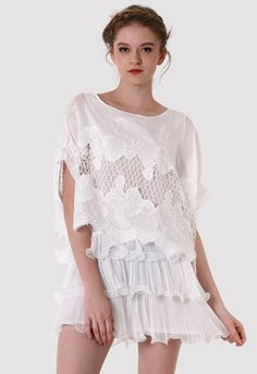 Crochet Lace Frill White Dress