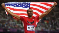 Aries Merritt of the United States celebrates after winning gold in the men's 110m Hurdles final on Day 12