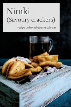 'Nimki', savoury Bengali snack seasoned with nigella seeds, deep fried to crispy perfection. Savory Crackers Recipe, Savory Snacks, Indian Food Recipes, Vegetarian Recipes, Nigella Seeds, Bengali Food, Clarified Butter Ghee, Tea Time Snacks, Corner Table