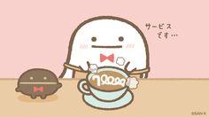 sumikko_335  11月21日 【祝すみっコなかま(フォロワー)70000人達成✨】 おばけとまめマスターから、記念のラテを一杯サービス (・━・)っ☕ #喫茶すみっコ