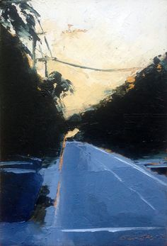 """""""Beach Road with Lines"""", oil, 6 x 4"""", © Mary Bentz Gilkerson"""